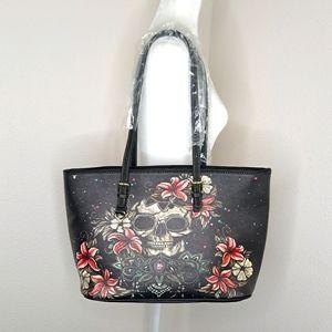 Skull Purse Painted Tote Bag Handbag Goth NEW Nwot